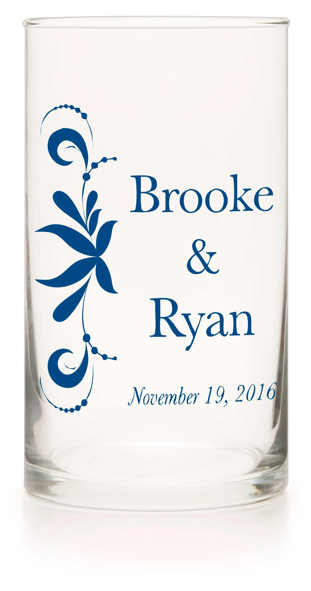 "Unity or Anniversary Glass Cylinder - ""Bordering Love"" - WeddingCandles.com"