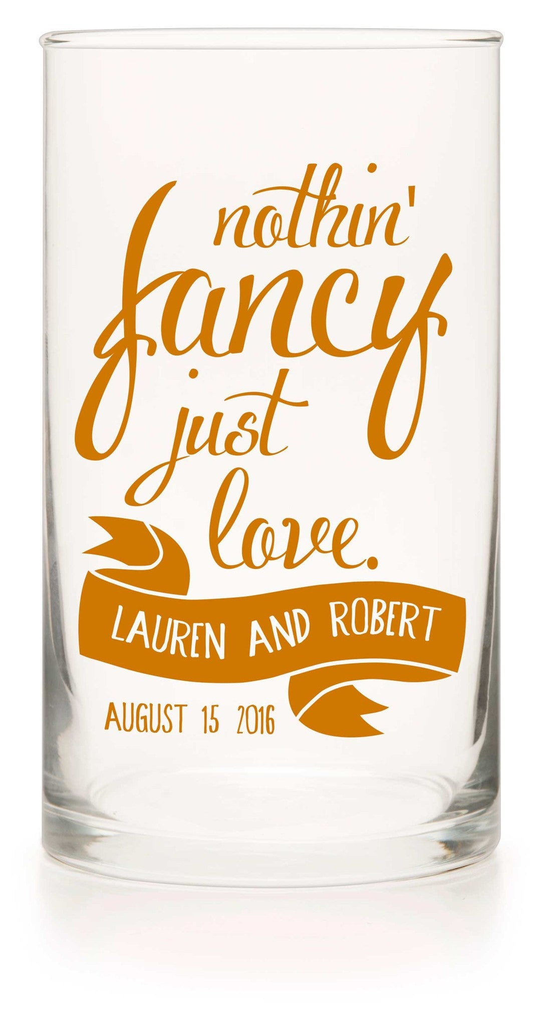 "Unity or Anniversary Glass Cylinder - ""Just Love"" - WeddingCandles.com"