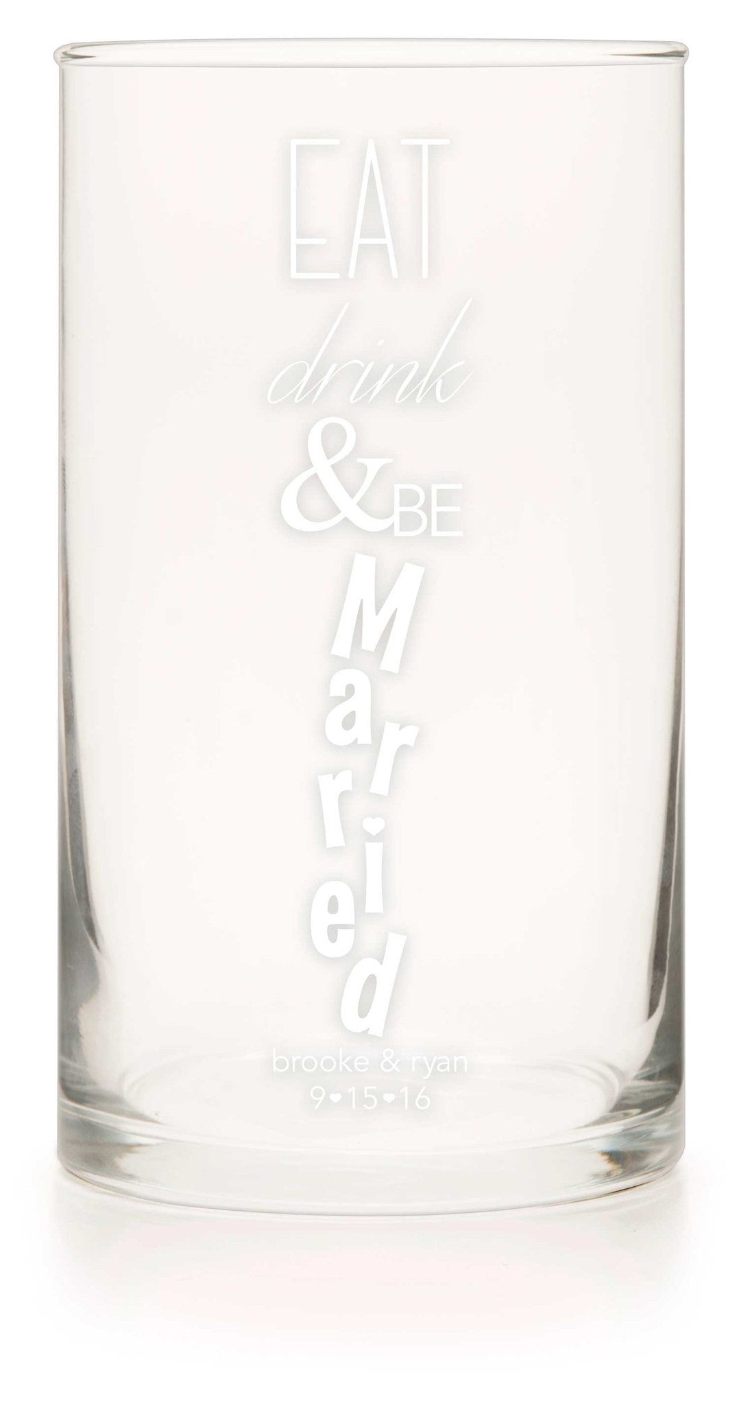 "Unity or Anniversary Glass Cylinder- ""Be Married"" - WeddingCandles.com"