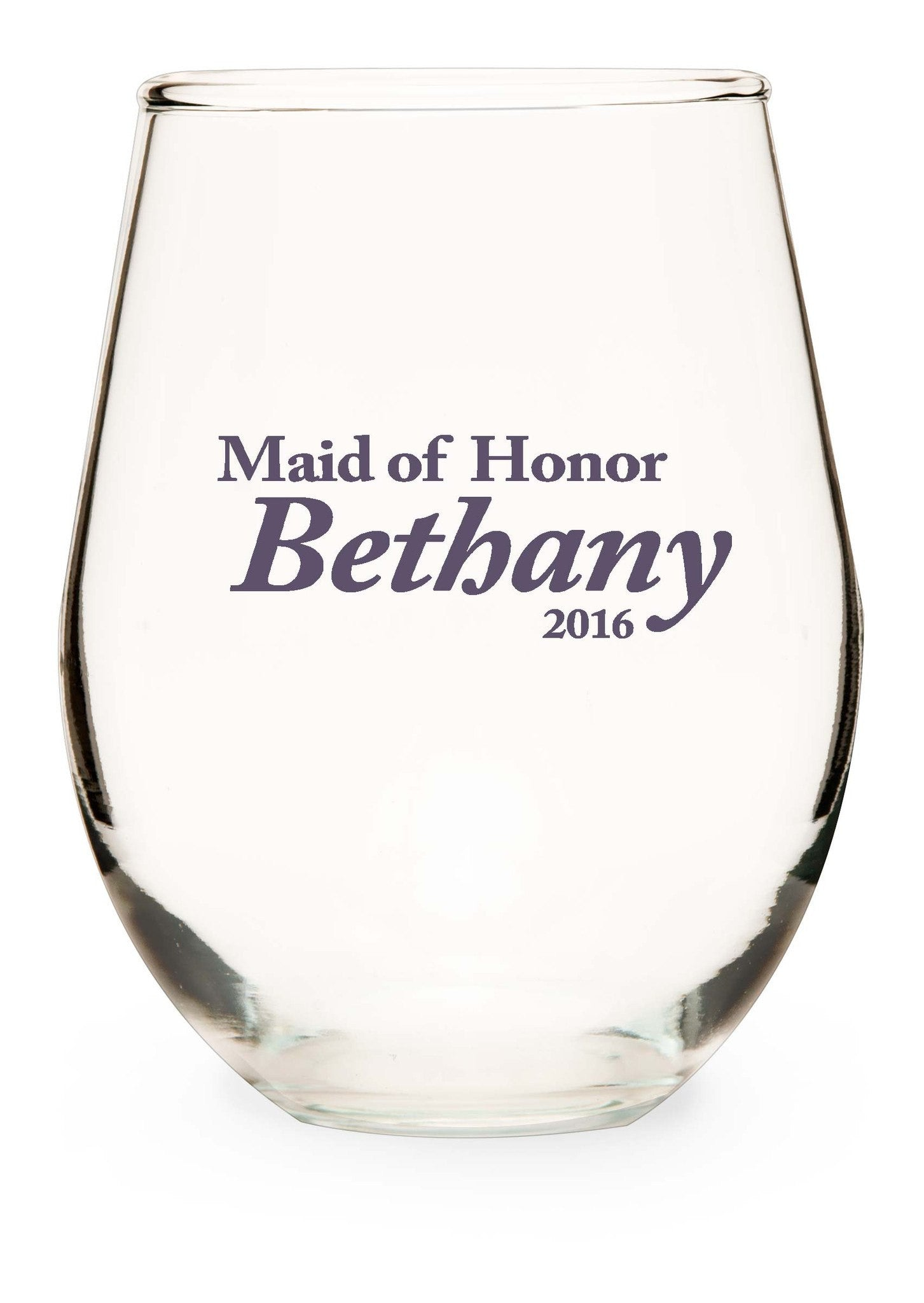 "Maid Of Honor Stemless Wine Glass - ""Formal"" - WeddingCandles.com"