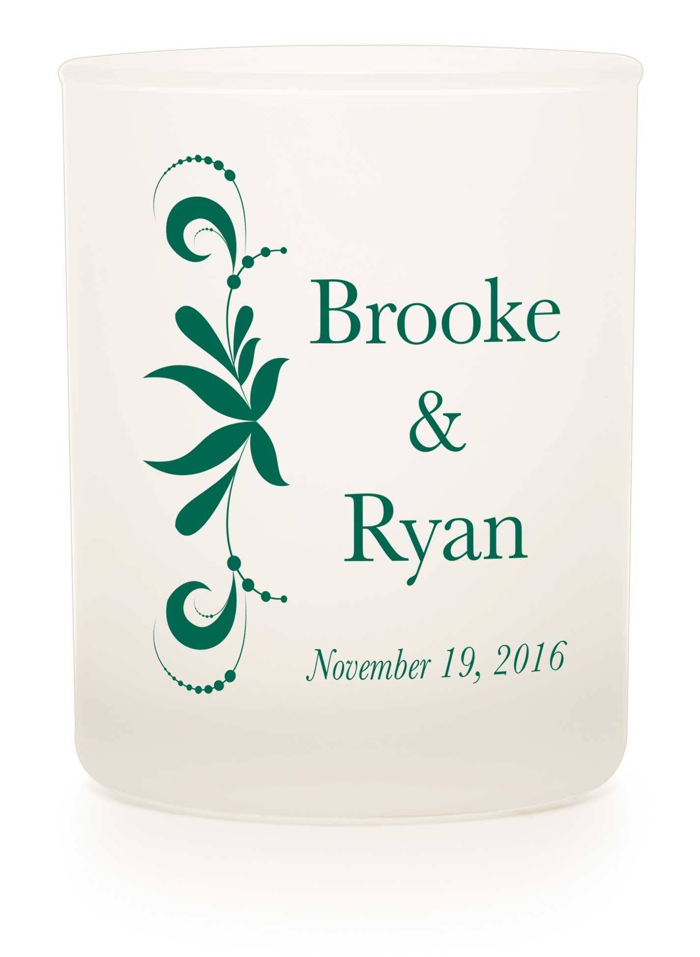 "Frosted Tumbler - ""Bordering Love"" - WeddingCandles.com"