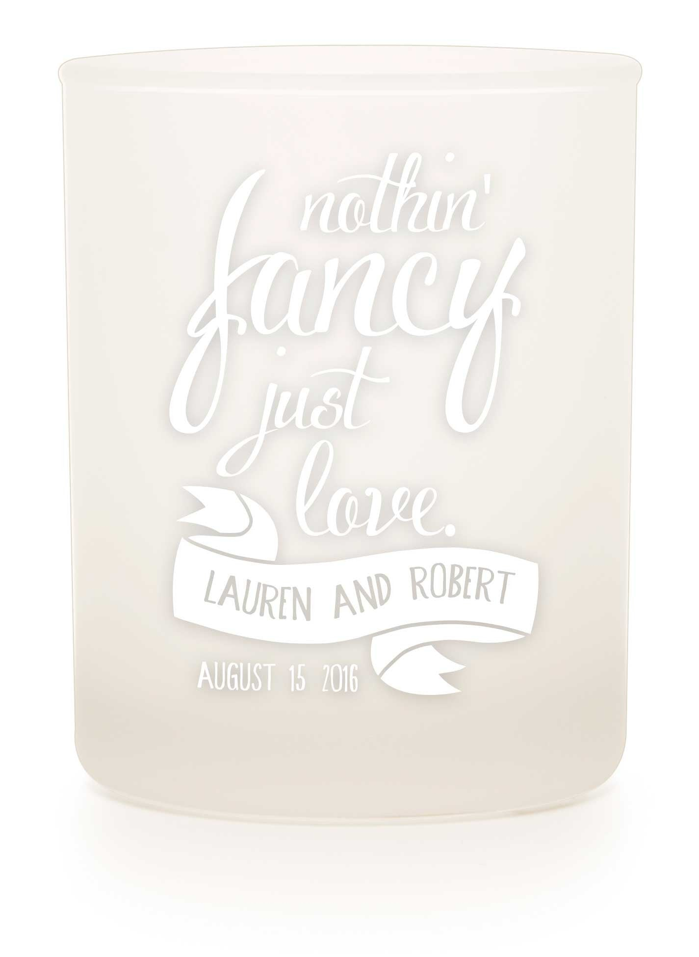 "Frosted Tumbler - ""Just Love"" - WeddingCandles.com"