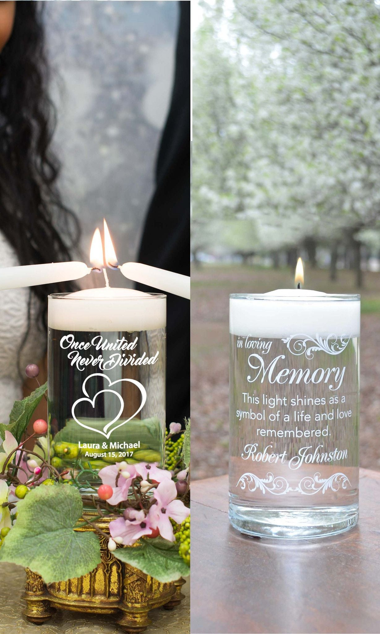 Unity Candle & Memorial Candle Set - Here Comes The Bride White - Personalized Candle Holders - Wedding Candles - 1