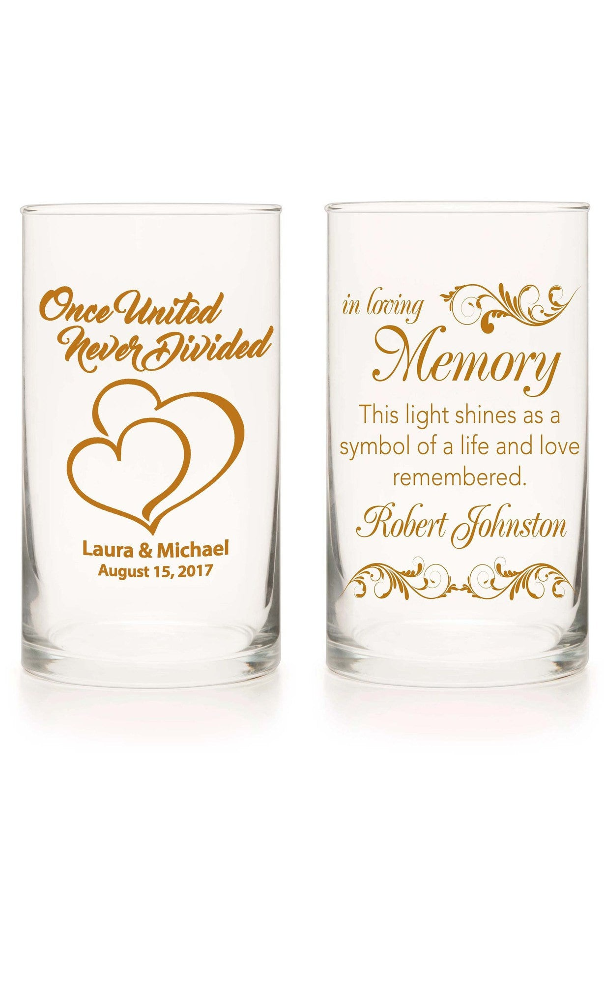 Unity Candle & Memorial Candle Set - Going To The Chapel Amber - Personalized Candle Holders - Wedding Candles - 9