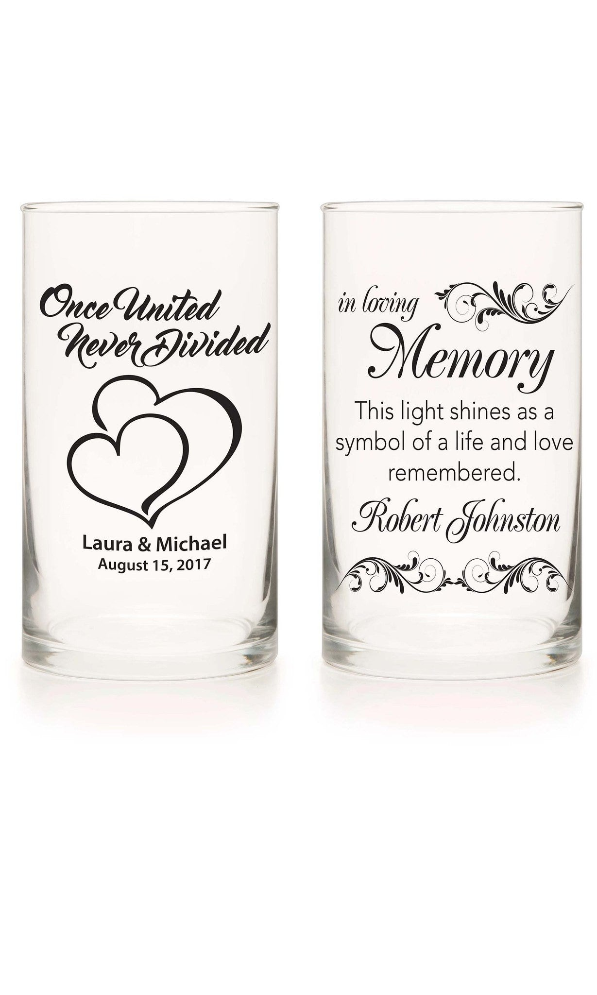 Unity Candle & Memorial Candle Set - Tux & Tie Black - Personalized Candle Holders - Wedding Candles - 2