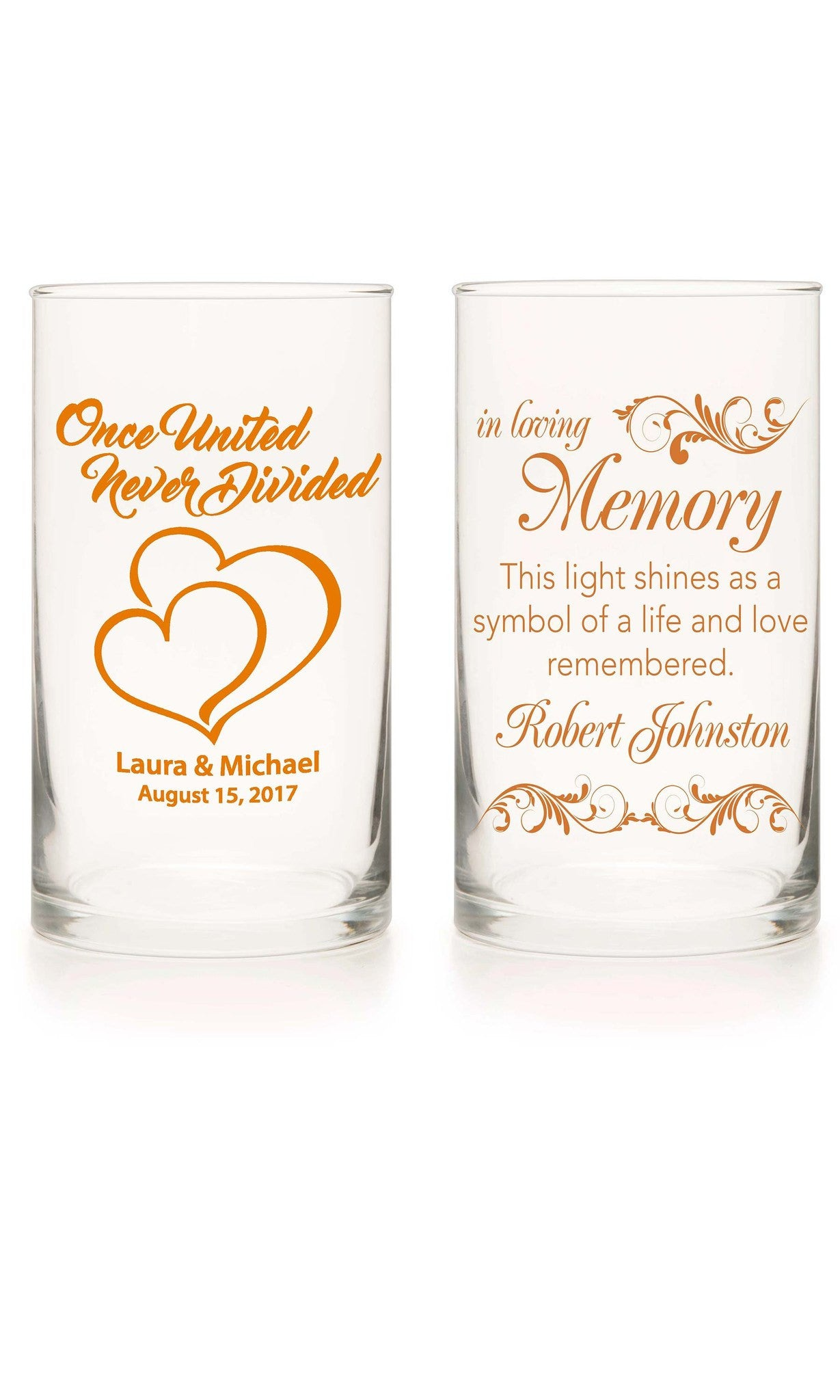 Unity Candle & Memorial Candle Set - Always A Bridesmaid Orange - Personalized Candle Holders - Wedding Candles - 8