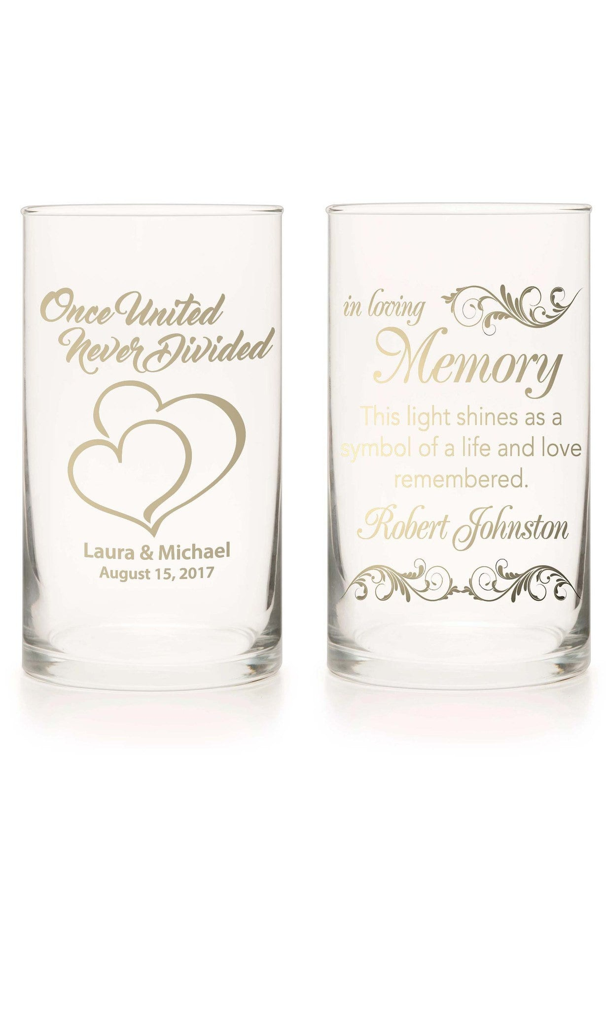 Unity Candle & Memorial Candle Set - Marry Me Gold - Personalized Candle Holders - Wedding Candles - 13