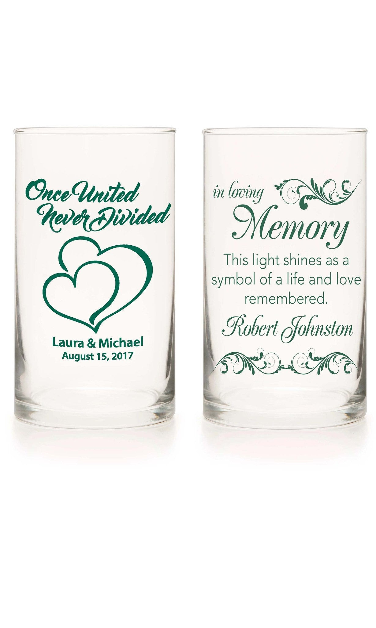 Unity Candle & Memorial Candle Set - Wedded Bliss Green - Personalized Candle Holders - Wedding Candles - 10