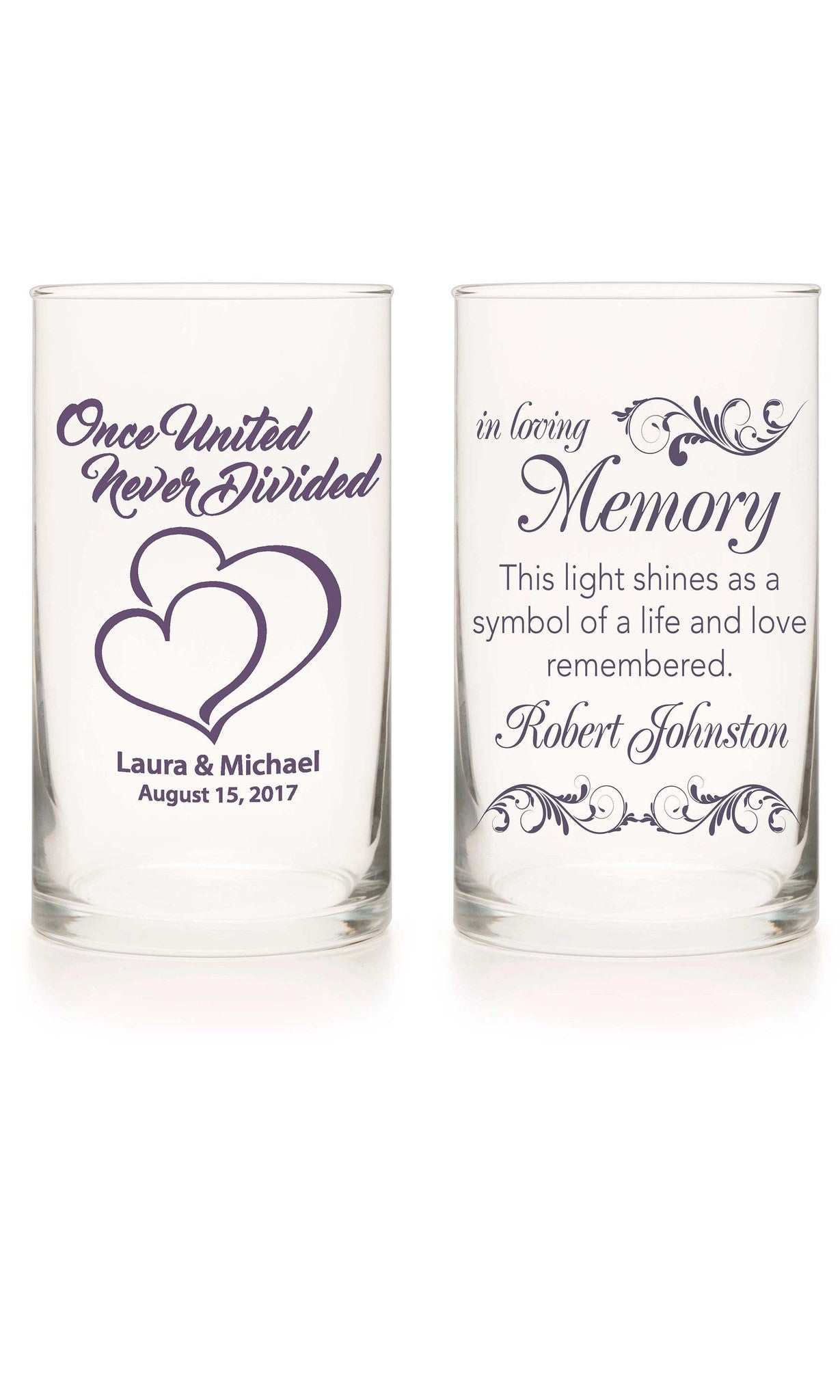 Unity Candle & Memorial Candle Set - Catch The Bouquet Lavender - Personalized Candle Holders - Wedding Candles - 11