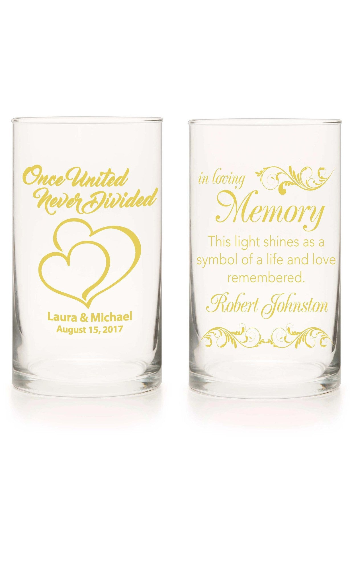 Unity Candle & Memorial Candle Set - With This Ring Yellow - Personalized Candle Holders - Wedding Candles - 12