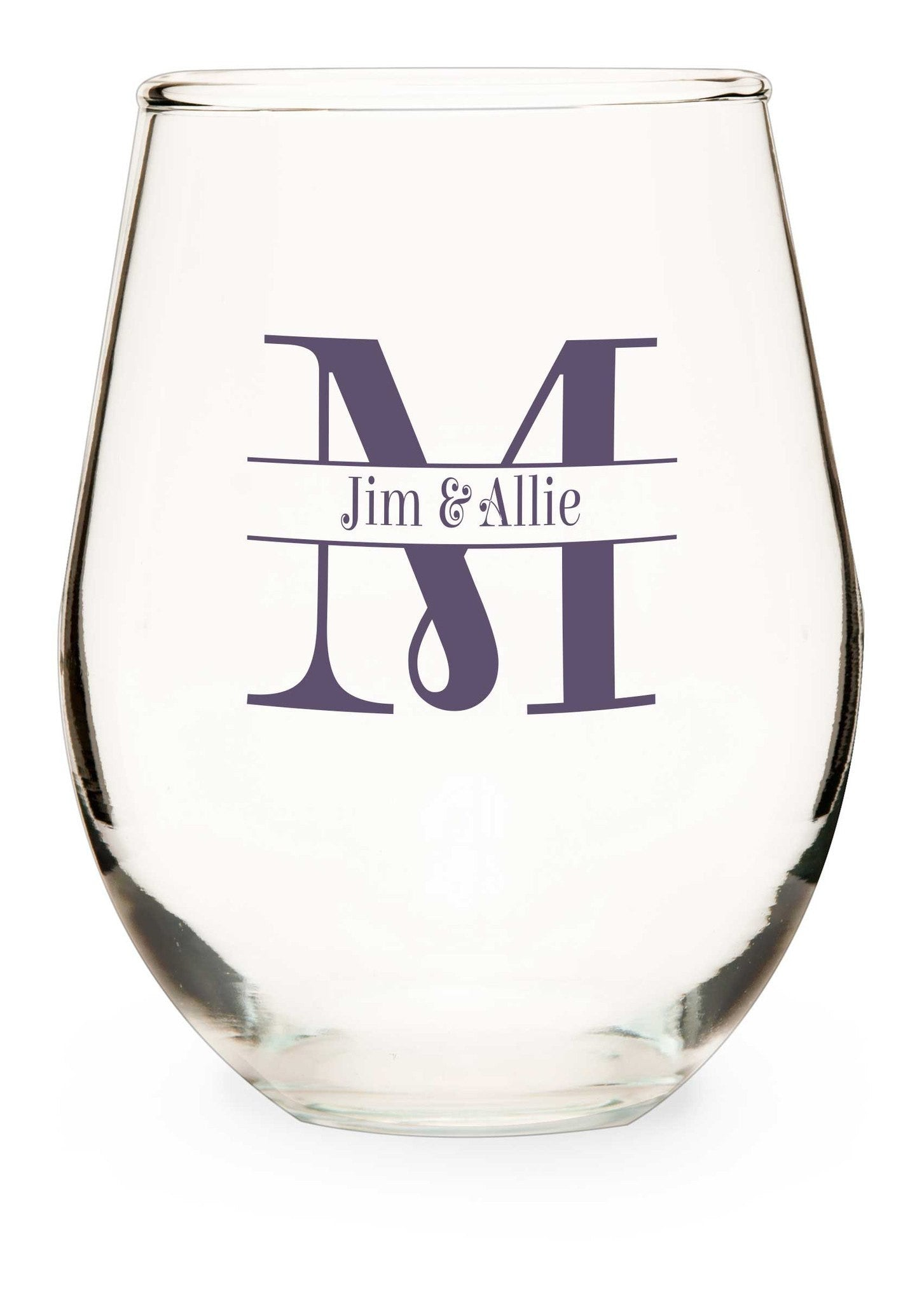 Stemless Wine Glass Two Become One - WeddingCandles.com