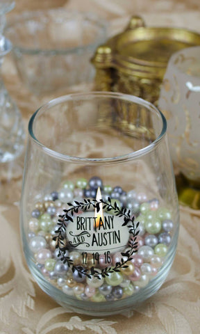 Stemless Wineglass Lover's Wreath