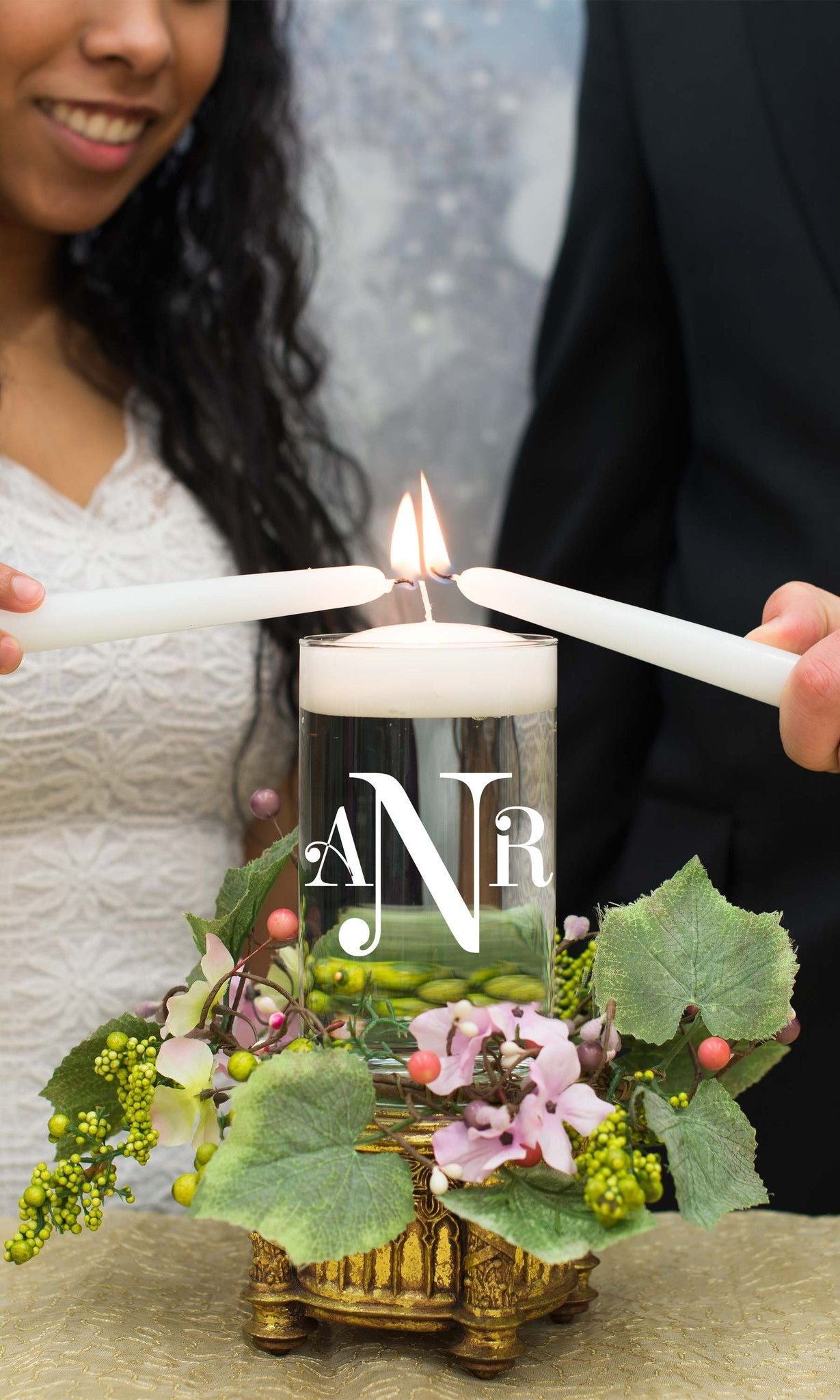 "Unity or Anniversary Glass Cylinder - ""Initially Yours"" - WeddingCandles.com"