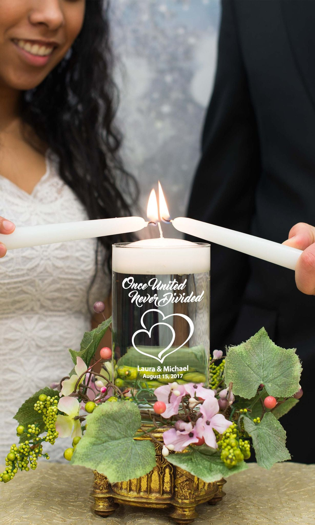 "Unity Glass Cylinder - ""Once United"" - WeddingCandles.com"