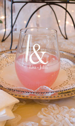 Stemless Wine Glass He & I