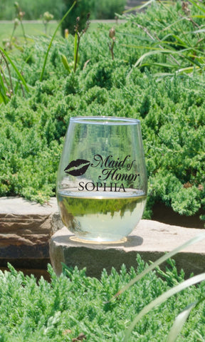 "Maid Of Honor Stemless Wine Glass - ""Lips"""