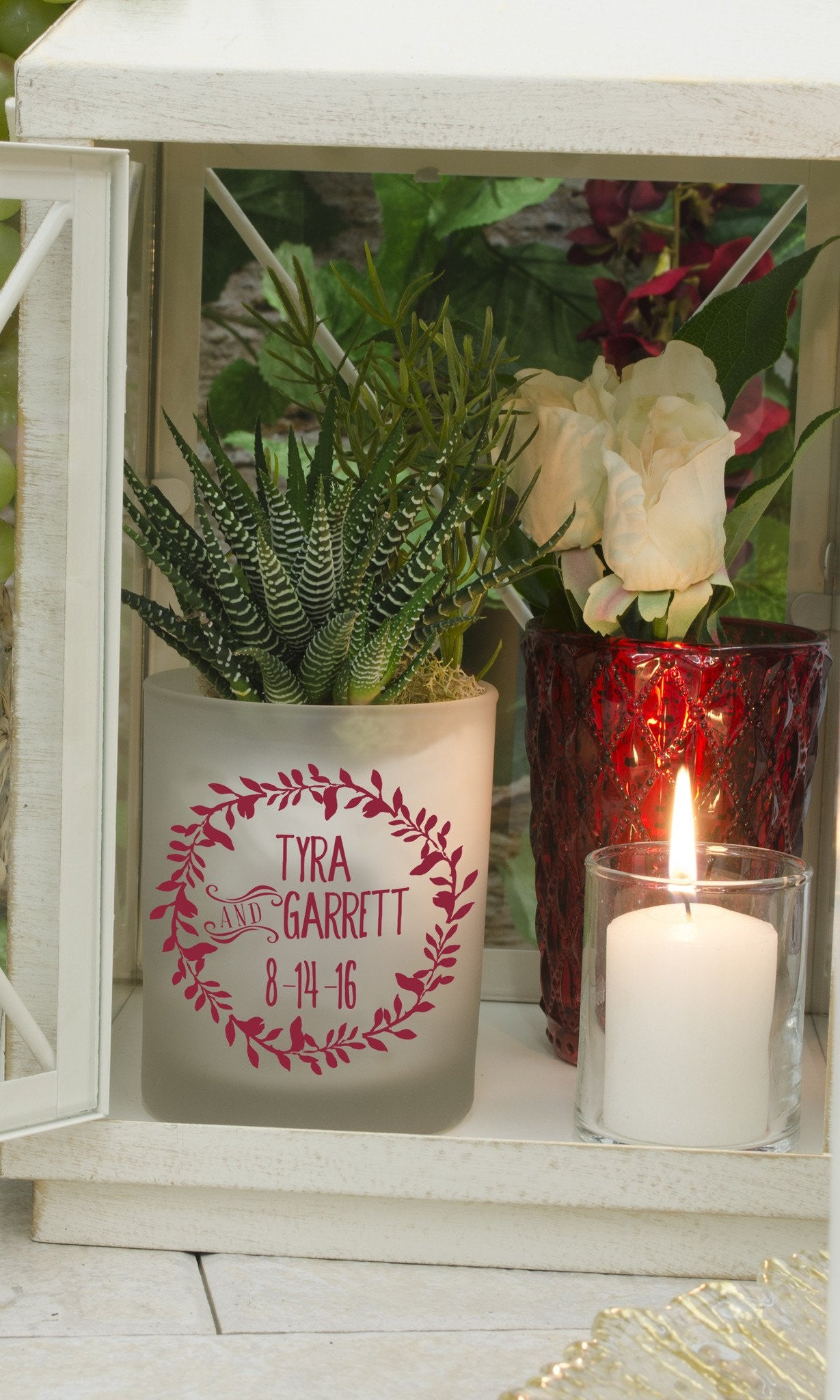 "Frosted Tumbler - ""Lover's Wreath"" - WeddingCandles.com"