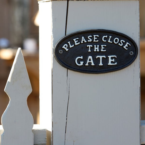 """Please Close the Gate"" Cast Iron Sign"