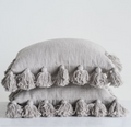 Amelia Tassel Throw Pillow in Gray