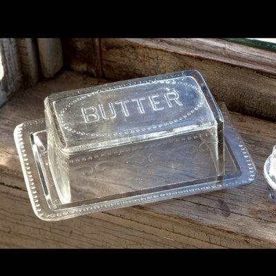 Heavy Glass Vintage Style Butter Dish