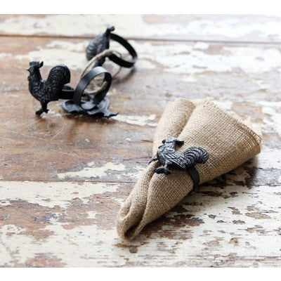Cast Iron Rooster Napkin Rings - Gin Creek Kitchen