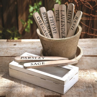 Wooden Herb Stakes in Antique Style Box