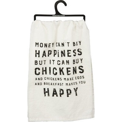Happiness and Chickens Dish Towel