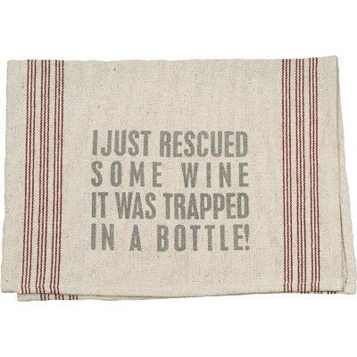 """Rescued Wine"" Tea Towel - Gin Creek Kitchen"