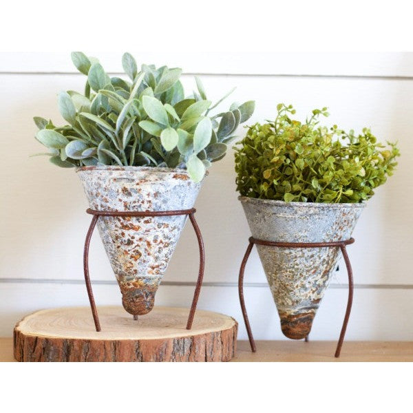 You've probably spotted these cute Rusty Cone Shaped Flower Pots on Instagram! Each flower pot features a chippy, rusty finish! These are great for a window seal garden!