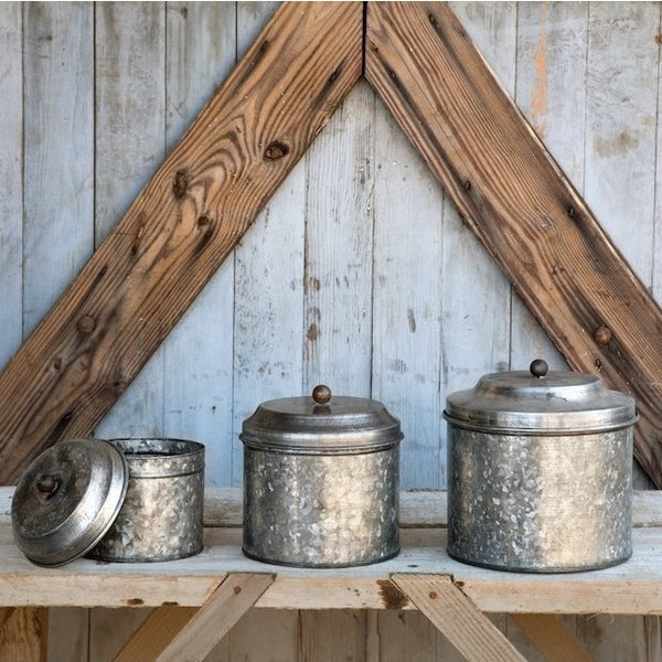 Short Galvanized Canister Set