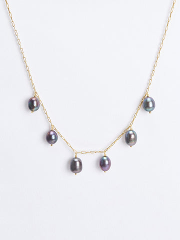 BIG BLACK PEARL NECKLACE
