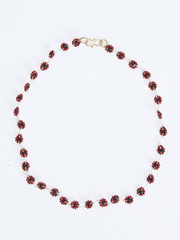DAISY NECKLACE BURGUNDY