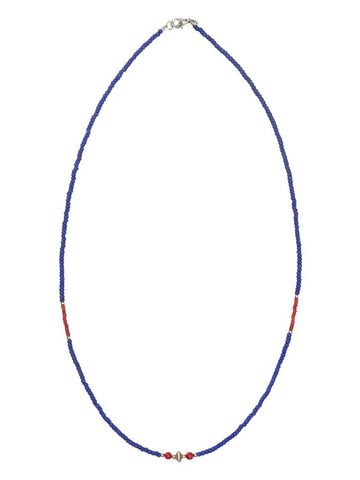 NECKLACE BLUE, RED BEADS