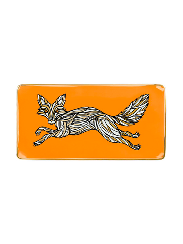 PORCELAIN TRAY FOX