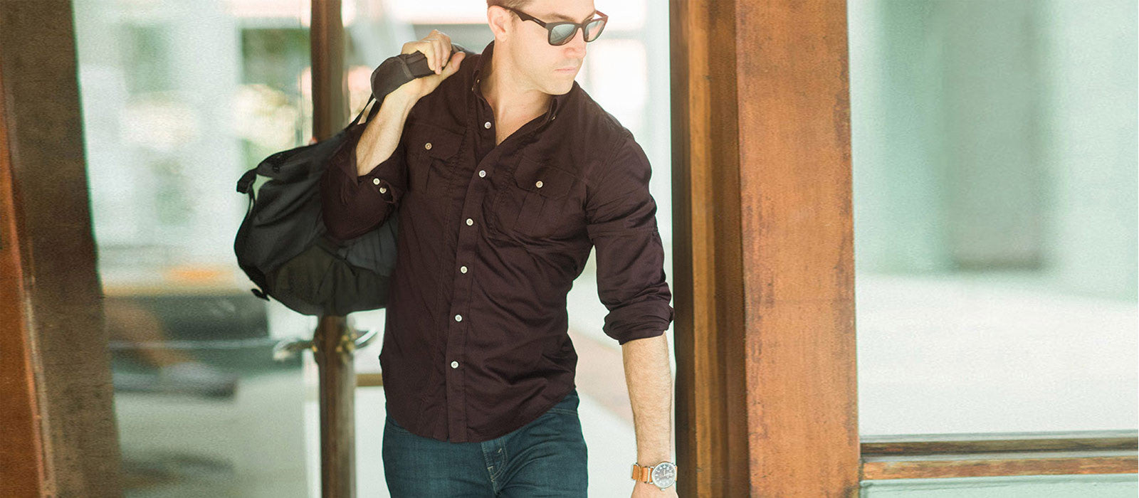 Modern Utility Shirt in Burgundy