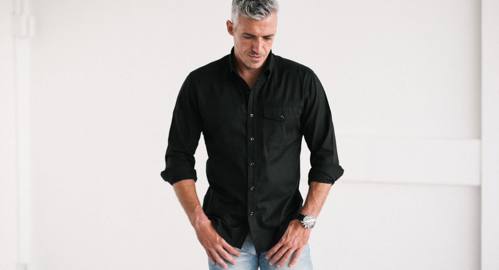 Black 1 Pocket Casual Men's Shirt Image