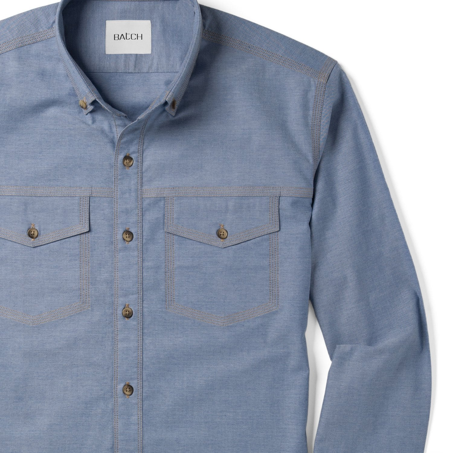 Men's Casual Author Button Up Shirt in Blue Close-Up On Stitching