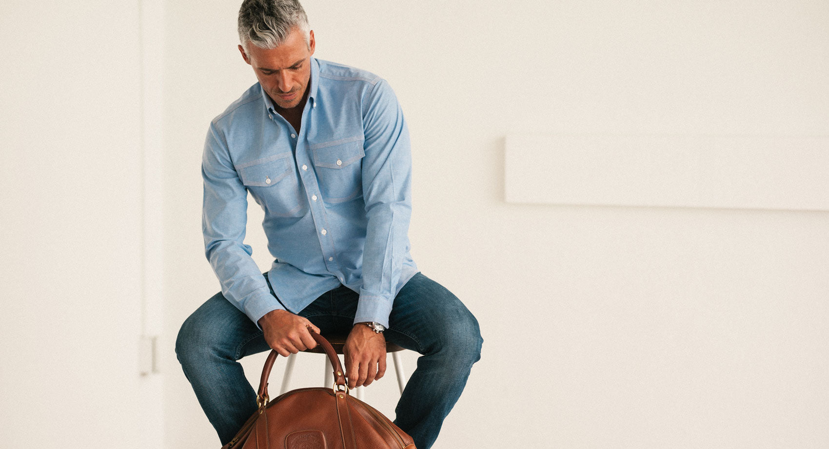 Men's Casual Author Button Up Shirt in Blue