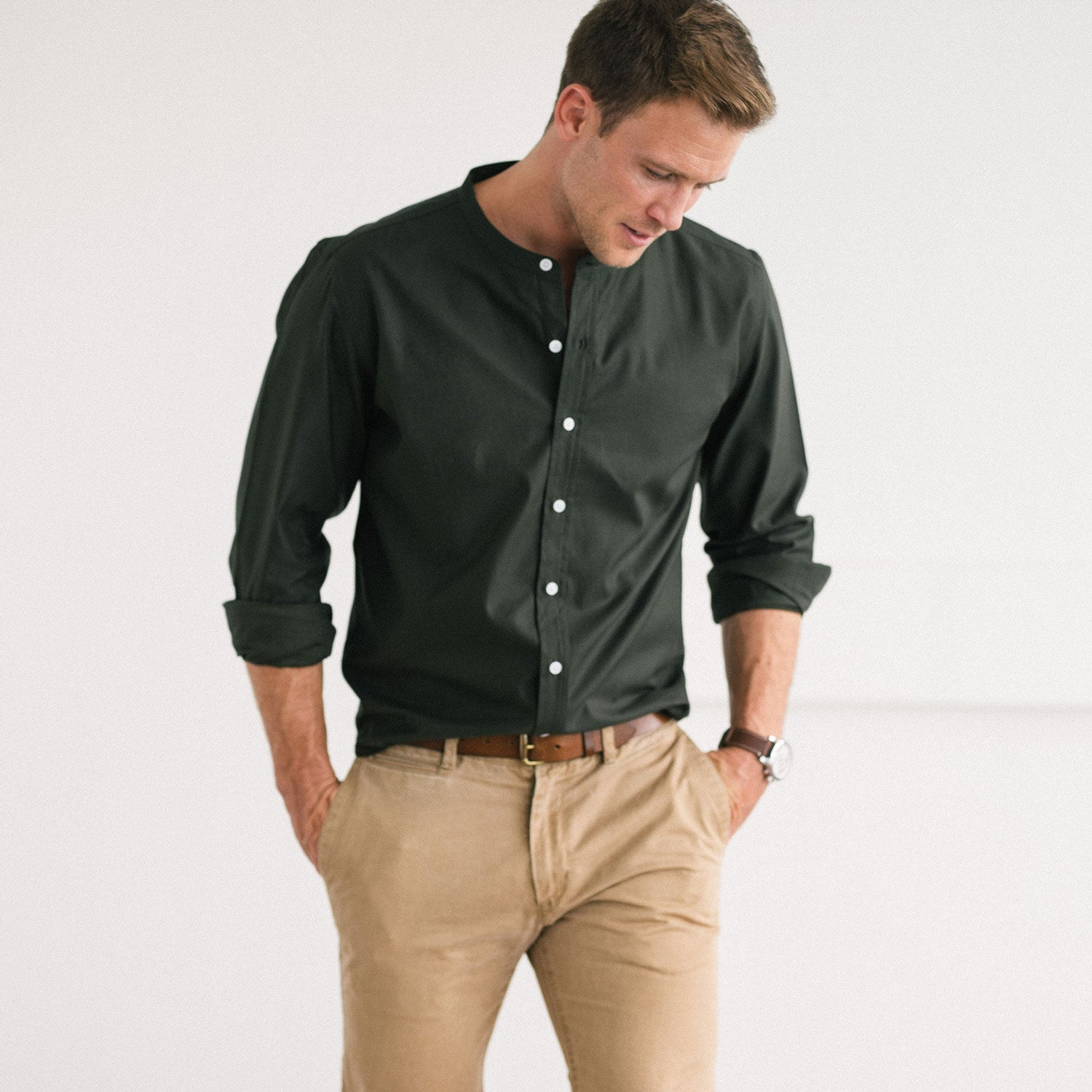 Band Collar Shirt Green With White Buttons