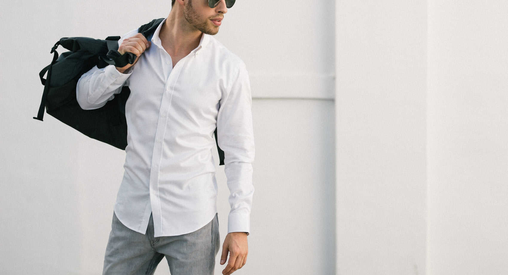 White Essential Business Casual Button Down Shirt