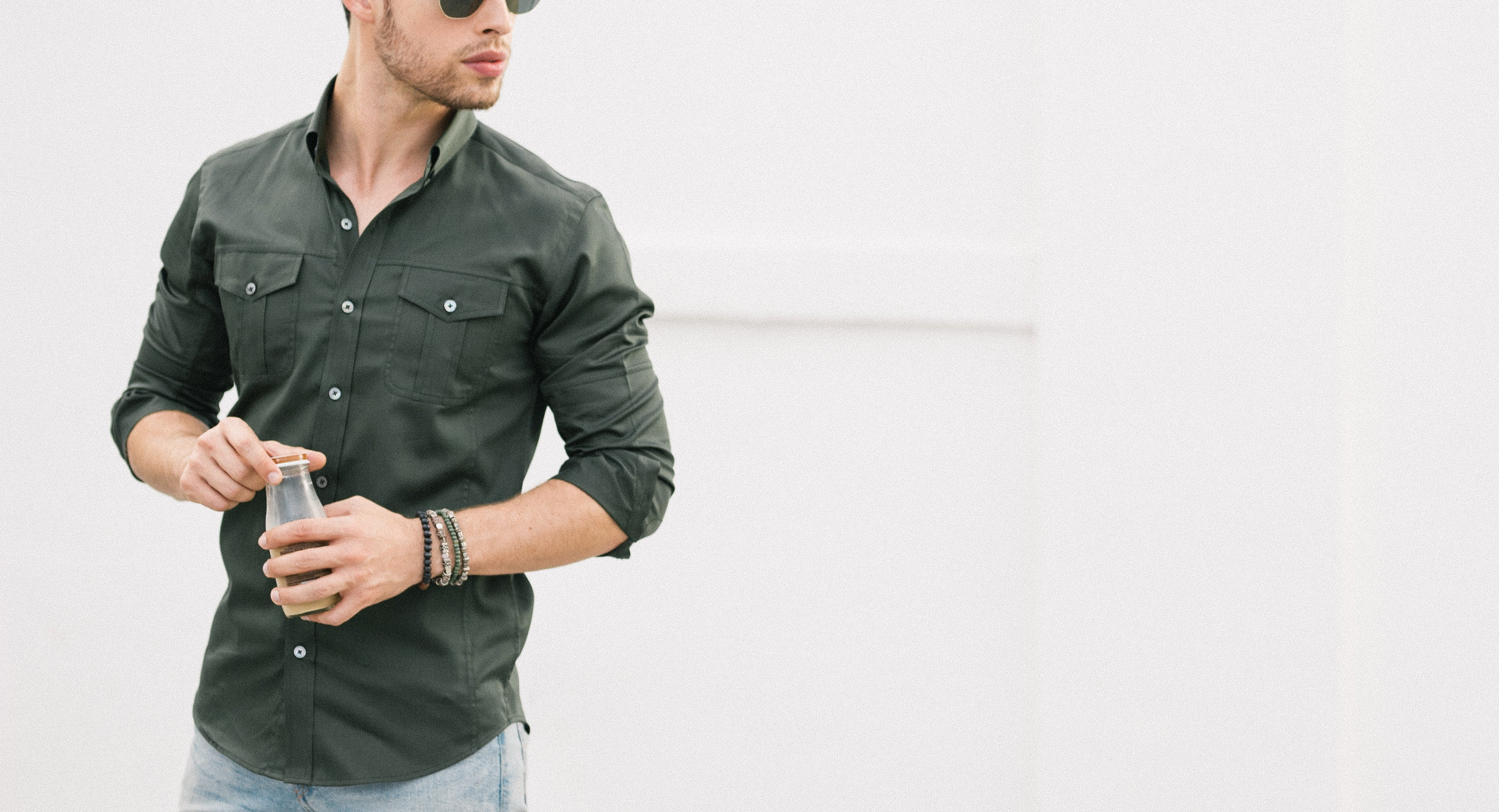 Olive Green Men's Utility Shirt