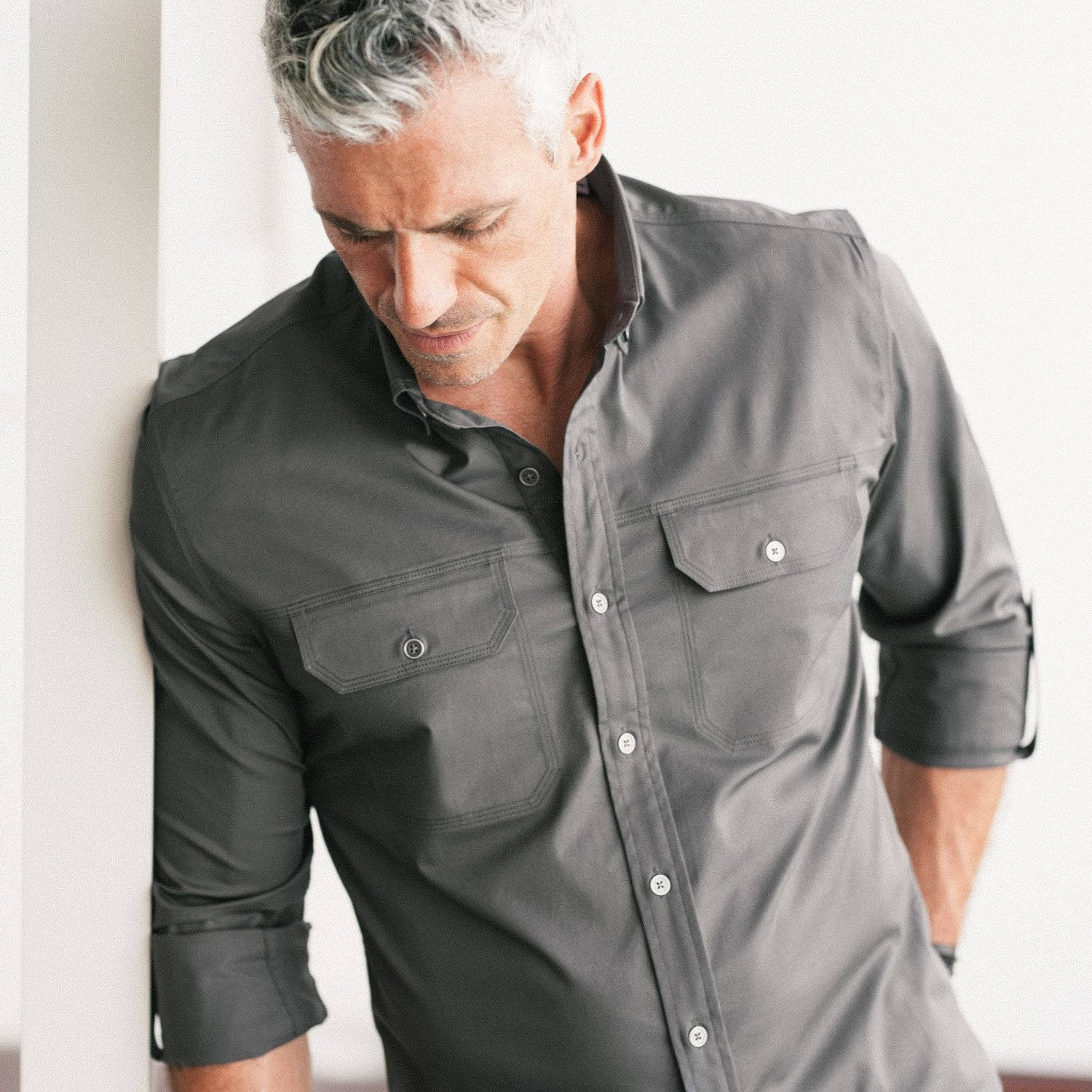 Men's Casual Builder Button Up Shirt in Gray
