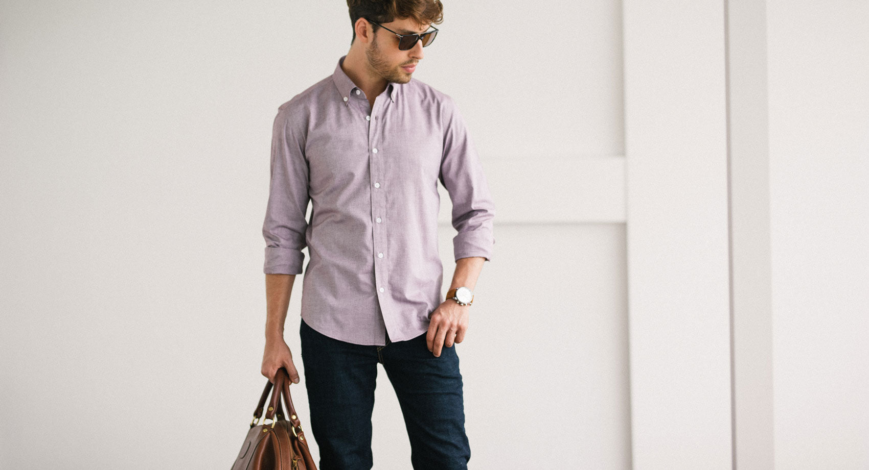 Blue Oxford Collarless Shirt