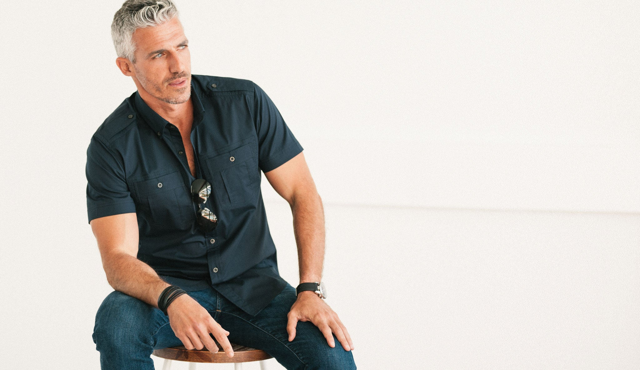 Batch Men's Short Sleeve Casual Shirt in Black Canvas Image