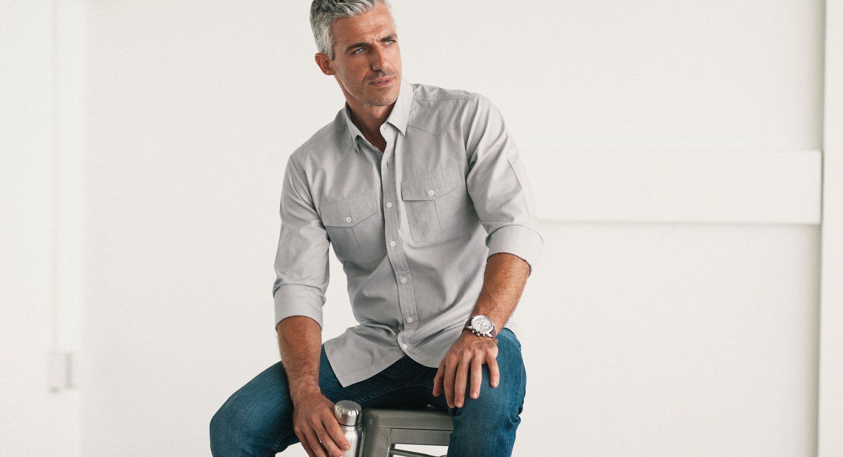 Light Gray Maker Utility Shirt in Gray End-on-end