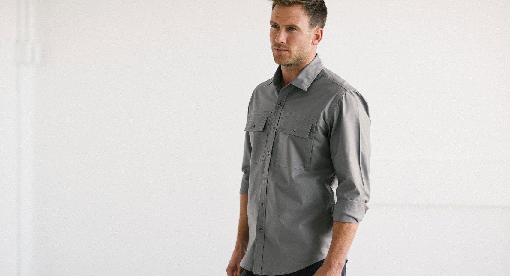 Pure White Men's Utility Shirt