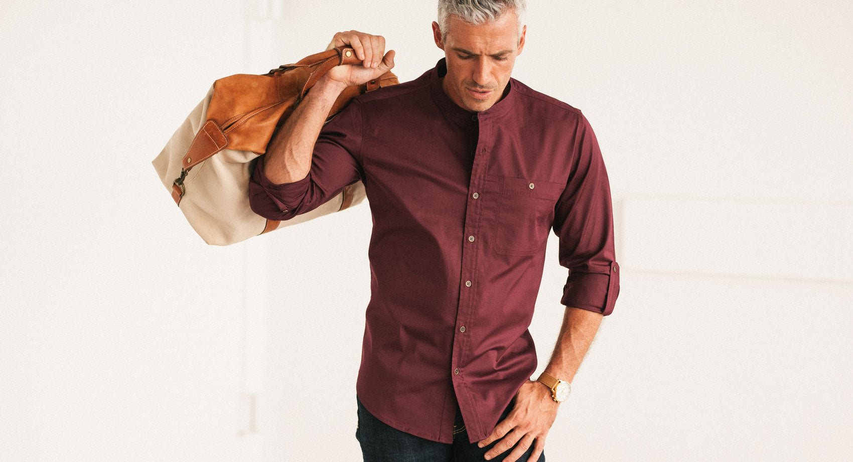 Burgundy Stretch Twill Band Collar Men's Shirt