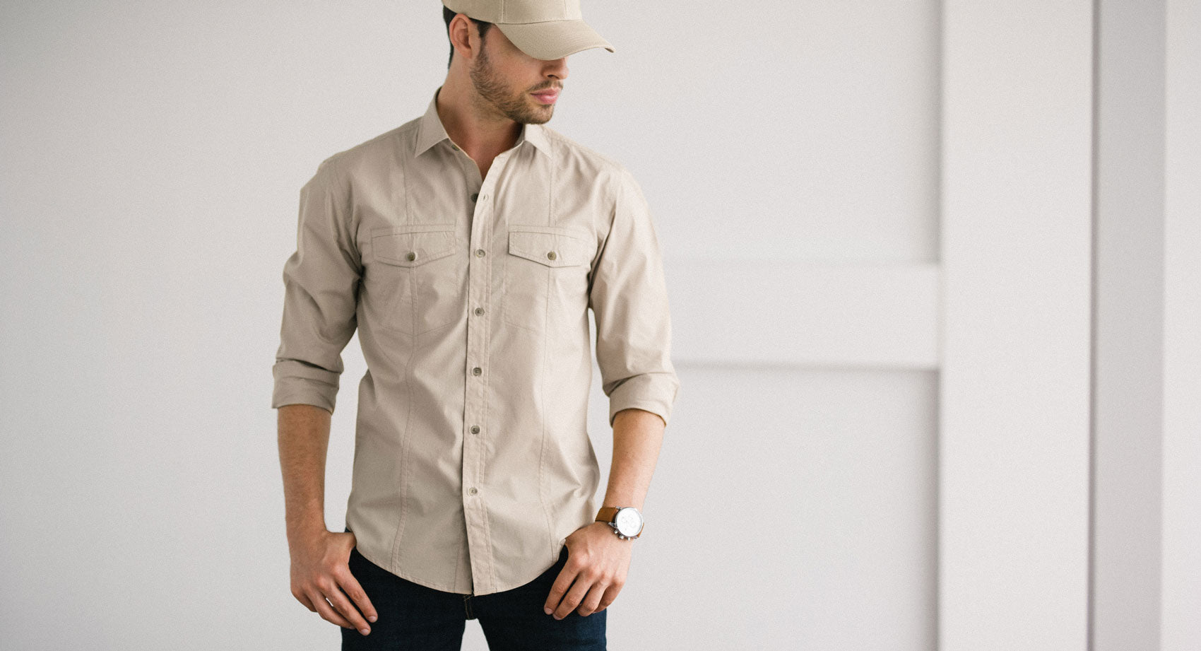 Light Khaki Men's Utility Shirt
