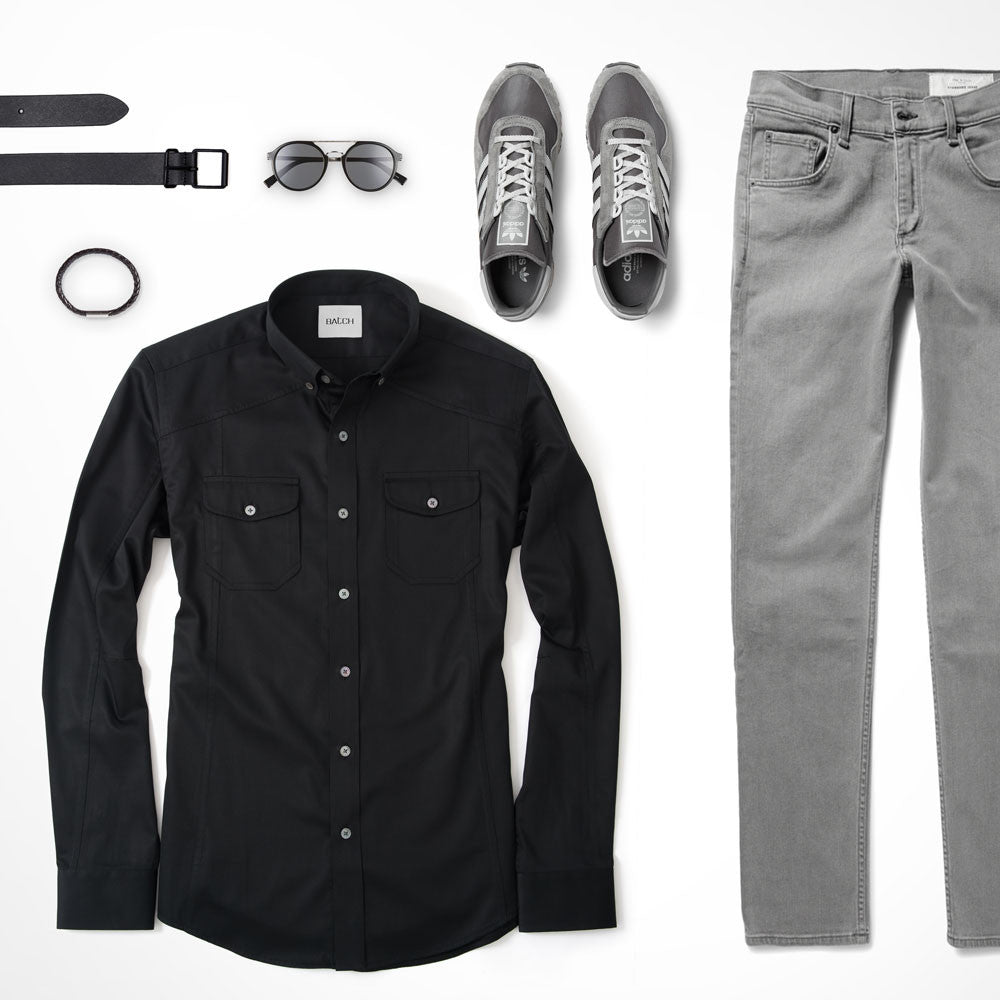Black Utility Shirt Outfit with Grey Jeans