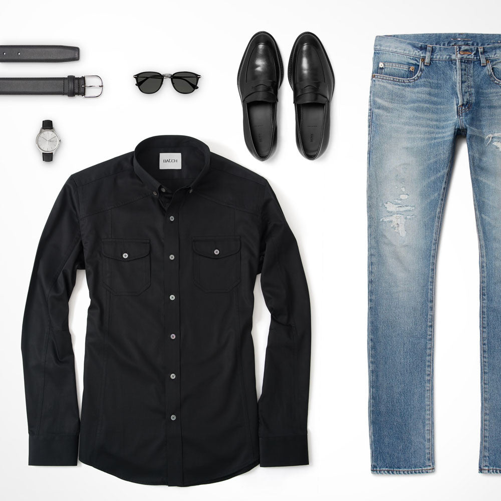 Black Utility Shirt Outfit with Blue Jeans